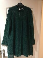 Vestido de encaje H&M Gótico Victoriana verde oscuro.. Talla 18... impresionante