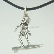 "Surfboard Sport of Surfing Sexy Girl Pendant 17"" Collar Short Necklace 16520"