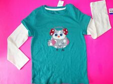 NWT BABY GAP GIRLS OWL GRAPHIC T TEE LONG SLEEVED NORTHERN BRIGHTS LINE 5T 5