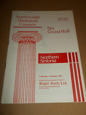 SCARBOROUGH ORCH. CONCERTS SPA GRAND HALL ~ NORTHERN SINFONIA PROGRAMME 1987