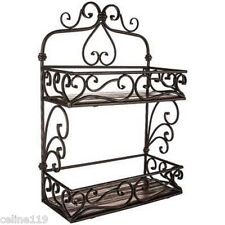 "Iron & Brown Wood 2-Tier Scroll Wall Shelf Storage Organizer Shelves 22"" x 15"""