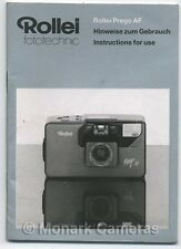 Rollei Prego AF Compact Camera Instruction Manual. More User Guide Books Listed