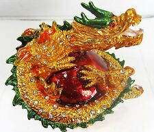 Dragon on Flaming Ball Jeweled Pewter Trinket Box Mythical Fantasy
