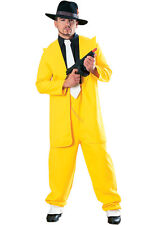 Mens Yellow Gangster Zoot Suit The Mask Fancy Dress Size XL Upto 50""