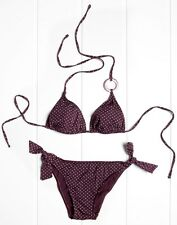 Punto Blanco 2 Piece Bikini Swimsuit. Burgundy Polka Dot Top & Tie Brief (34B)