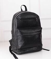 New Girl PU Leather Woven Backpack Korean School Style Black Shoulder Bag