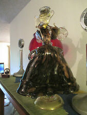 "13"" copper flecking murano gold art glass hat lady figurine statue black nason"