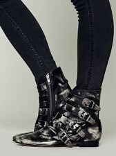 New $198 FREE PEOPLE Beatnik Buckle Ankle Boots Size 39- Black