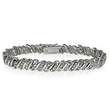Genuine Diamond Accent Wave Tennis Bracelet in Silver Tone