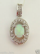 Beautiful 14ct White Gold Mintabie Jelly Opal & White Topaz Pendant