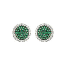 Pave Emerald Spinel + Clear CZ Rhodium Martini Center Stud Earrings-15mm