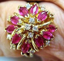 GORGEOUS 14K YELLOW GOLD MARQUISE RUBY AND DIAMOND CLUSTER COCKTAIL RING
