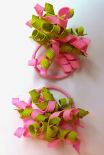 Gymboree Girls  Hair Bobble/Hair Tie x 2, Green and Pink - Brand New