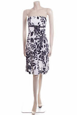 Size 8 Ethel Austin White With Black Flowers & Bow Cotton Summer Dress