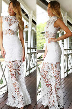 NEW STUNNING FLORAL LACE WHITE CUT OUT EVENING MAXI GOWN DRESS TOP SIZE 10 12