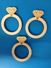 10 NATURAL WOODEN RING ENGAGEMENT WEDDING CARD MAKING CRAFT EMBELLISHMENTS