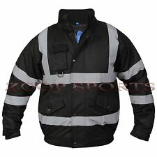 MENS WORK WEAR HI VIZ VIS VISIBILITY BOMBER PADDED SECURITY SAFETY JACKET