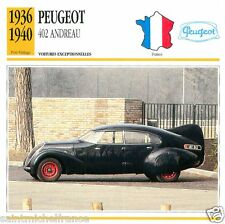 PEUGEOT 402 ANDREAU 1936 1940 CAR VOITURE FRANCE CARTE CARD FICHE