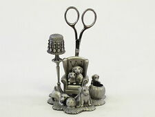 Puppy Dog English Pewter Sewing Station, Scissors, Thimble, Pin Cushion. Puppies
