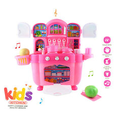 Kids Child Cooking Cabinet Pretend Kitchen Play Toys Set w/  Musical & Light