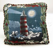 Mohawk Clear Winter Night Lighthouse Light House Snow Scene Throw Pillow