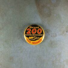 """Vintage Style Racing  Pinback Button  1"""" 200 MPH Club Life Member Grant Hot Rod"""