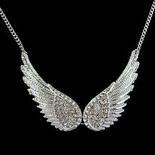 Double 5.5cm Big Angel Wing Use Swarovski Crystal 18K White Gold-plated Necklace