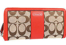 COACH PARK SIGNATURE ACCORDION ZIP AROUND CLUTCH WALLET PURSE VERMILLION $228
