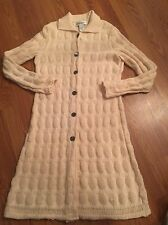 Bloomingdales Irish Wool Long Sweater Coat IRELAND Button M L Cream Ivory Amran