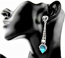 Vintage ART DECO Style Silver Turquoise Opal Crystal Paste Drop Dangle Earrings