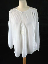New With Tags CHRISTOPHE SAUVAT airy cotton white tunic top M 14