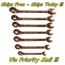 Craftsman 7 Pc Reversible Lever Ratchet Combo Wrench Set Metric MM Full Polished