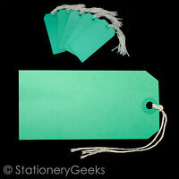 50 GREEN Strung Tags 120 x 60 mm String Label Luggage Tag 120mm x 60mm KF01624 Q