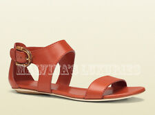 $650 GUCCI SHOES NADEGE ORANGE LEATHER SANDAL STIRRUP BAMBOO FLATS IT 38 US 8