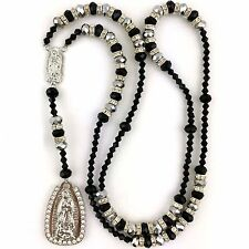 Black Silver Virgin Mary Our Lady of Guadalupe Crystal Rhinestone Rosary Rosario