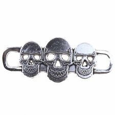 12pcs New Fashion Antique Silvery Alloy Charms Three Skulls Connector Pendant D