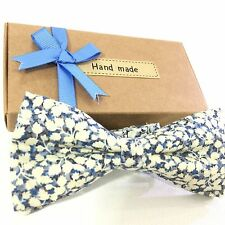 Bow Tie Gift Box Tuxedo Wedding Blue Floral Liberty of London USA Made NWT