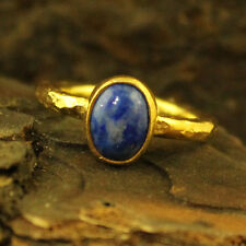 Handmade Hammered Colorful Lapis Ring 24K Gold Over 925K Sterling Silver