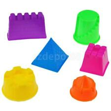 Set Of 6 Plastic Building Sand Molds Beach Sandcastle Sand Box Kids Toy Fun