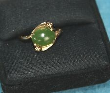 VTG 10K Yellow Gold Green Jade Ring Size 6