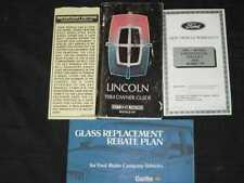 1984 Lincoln Owner's Manual 4pcs
