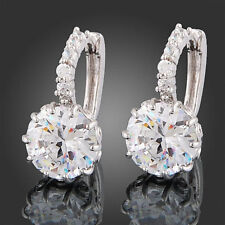 Women's Earrings 18k White Gold Clear Round Swarovski Crystal Zircon fu