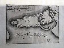 SIRACUSA,Pianta della città, Person Nikolaus. 1693. RARISSIMA Piemonte