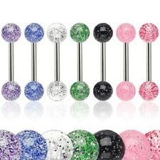 7 lot GLITTER UV Ball Tongue Rings Straight Barbells Bar Body Piercing Jewelry