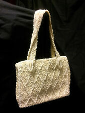 Handmade Church Purse White Glass Beads/Sequins  Vintage Reproduction Early 60's