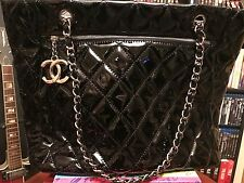 Chanel Black **RARE** Quilted Patent Leather Shopping Tote Shoulder Bag