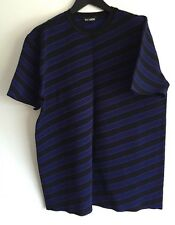 RAF SIMONS STRIPED KNITTED-JERSEY SHORT-SLEEVED SWEATSHIRT SIZE L RRP £525