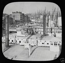 Glass Magic Lantern Slide SHIPPING ON THE EAST RIVER C1890 NEW YORK NY USA PHOTO