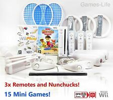 WII Console Nintendo 3 Player Bundle PLUS Sports Pack RUOTE 3 TELECOMANDI 31 GIOCHI