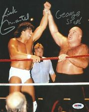 George The Animal Steele & Rick Martel Signed WWE 8x10 Photo PSA/DNA COA Picture